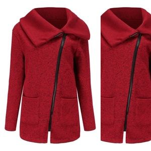 Red Folded Collar Asymmetrical Knit Jacket